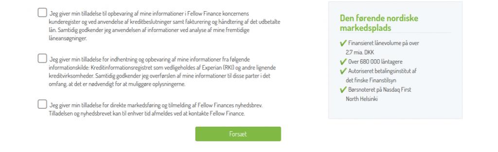 Anmeldelse af Fellow Finance | Her skal man give tilladelse til opbevaring af informationer.