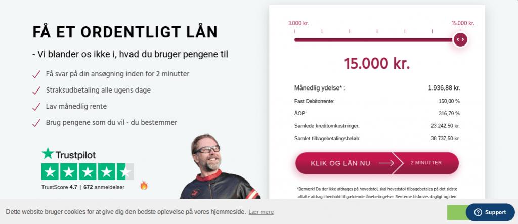 Anmeldelse af Kassekreditten.dk | Man skal her vælge størrelsen på kreditten.