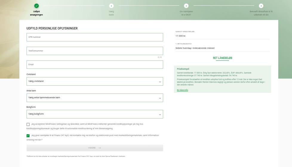 Anmeldelse af MiniFinans | Man skal udfylde personlige oplysninger for at søge om et lån hos MiniFinans.