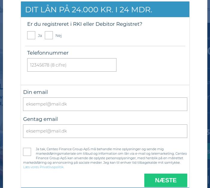 Anmeldelse af Nordisk Lån | Her oplyser man e-mail og giver samtykke.