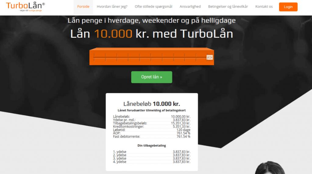 Anmeldelse af TurboLån | Man skal vælge lånebeløb og får her overblik over lånet.