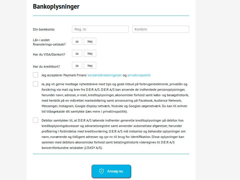 Paymark Finans bankoplysninger