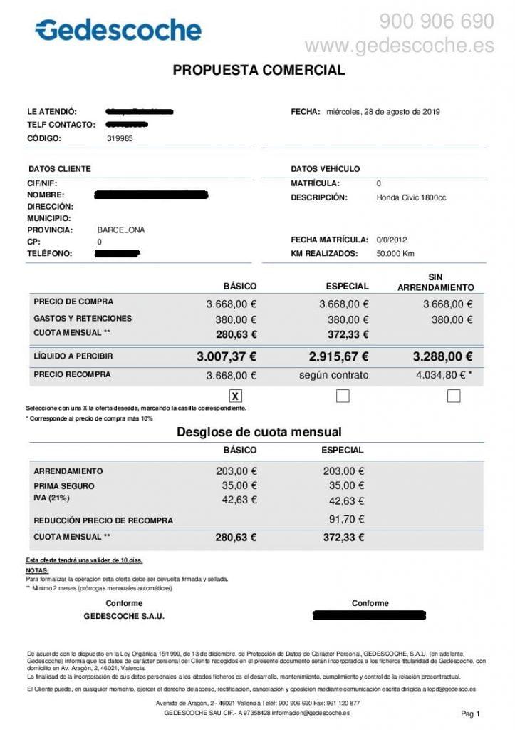 Propuesta comercial de Gedescoche