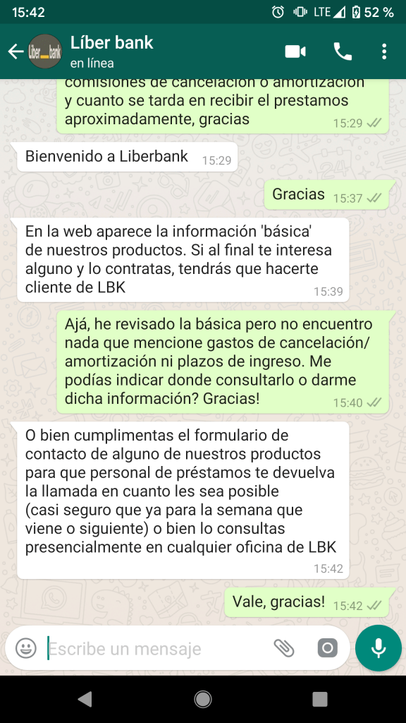 Whatsapp de Liberbank