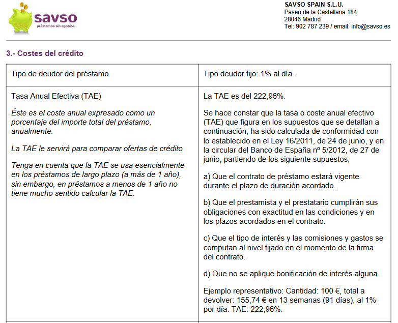 Contrato de Savso