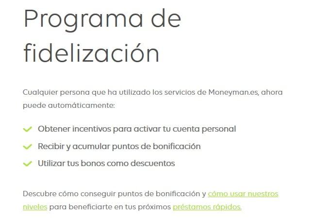 programa de fidelización de MoneyMan