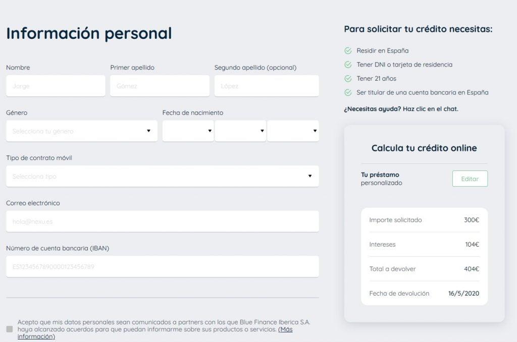 formulario de registro en Nexu