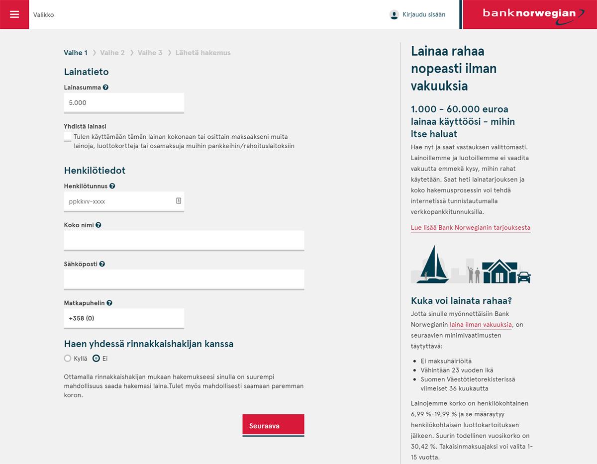 Bank Norwegianin kokemuksia lainan hakulomakeesta