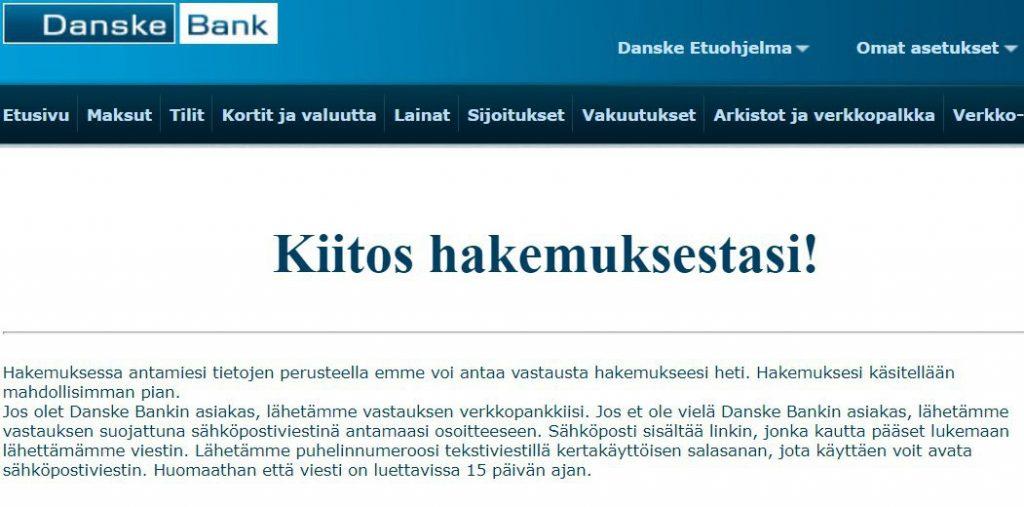 Danske Bank lainahakemuksen käsittely