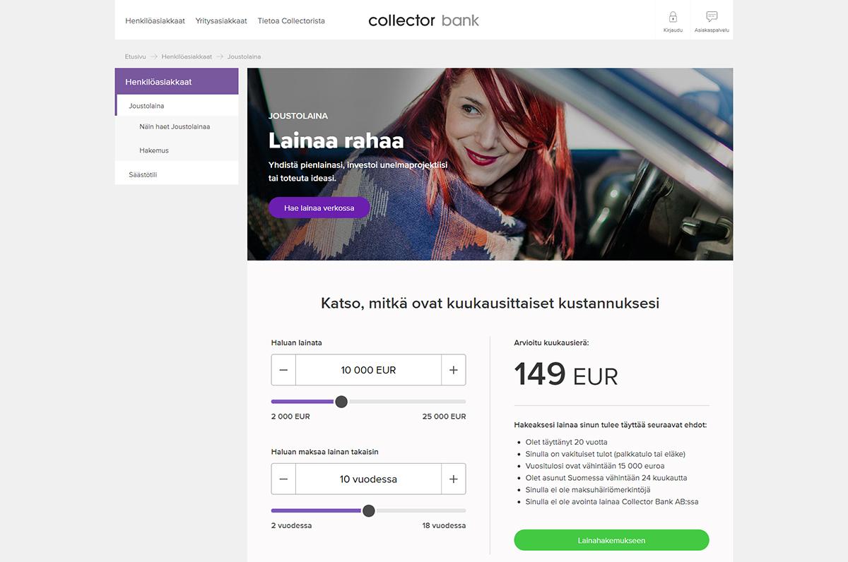 Collector bank kokemuksia lainamisesta