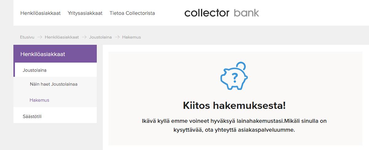 Kokemus Collector Bankista | Ei myöntänyt lainaa