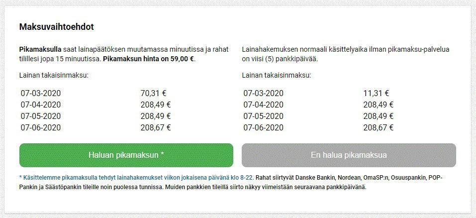 Lainasto maksuvaihtoehdot