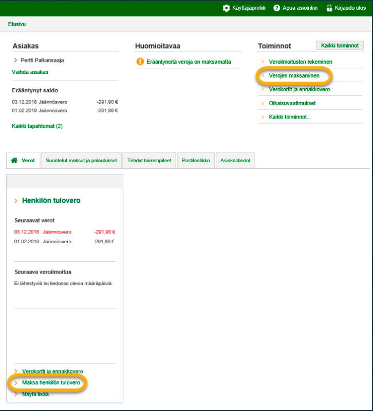 Jäännösveron maksaminen Omavero