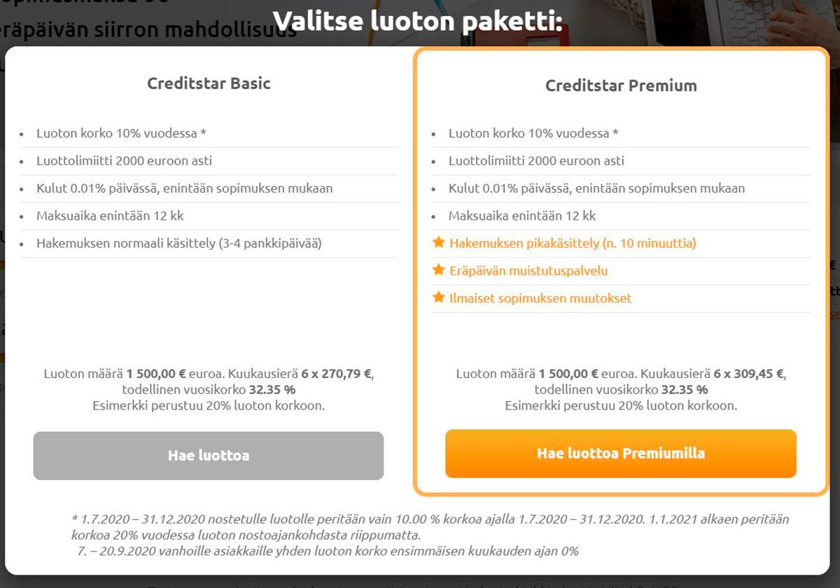 Creditstar Basic ja Creditstar Premium