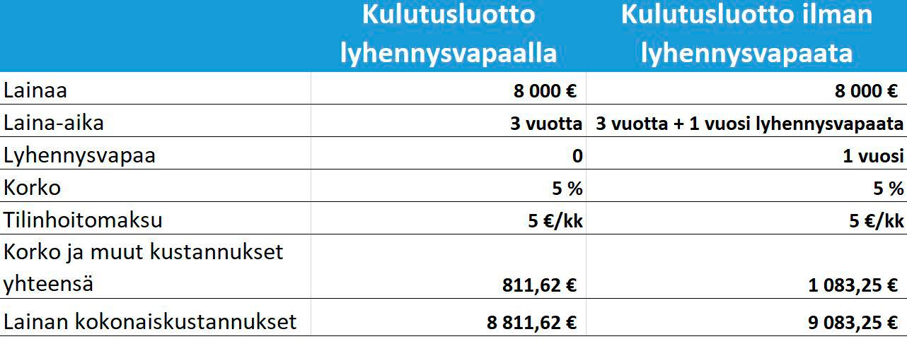 Kulutusluotto ja lyhennysvapaa