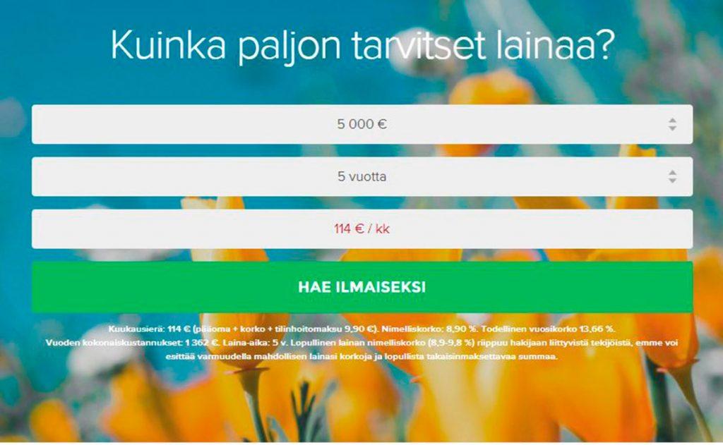 Credigo laina hakeminen  | Lainaan 5000 euroa
