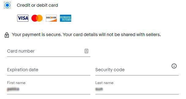 Verkkomaksun tekemiseen tarvittavat tiedot, jos maksuun käytetään maksukorttia