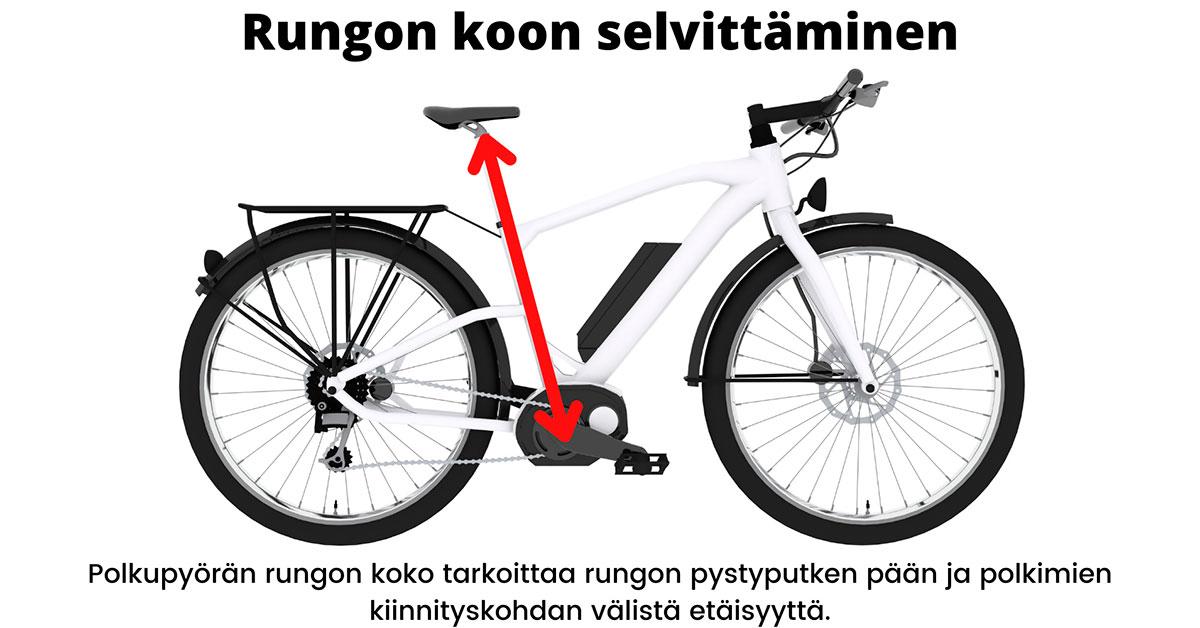 Miten polkupyörän rungon koko lasketaan