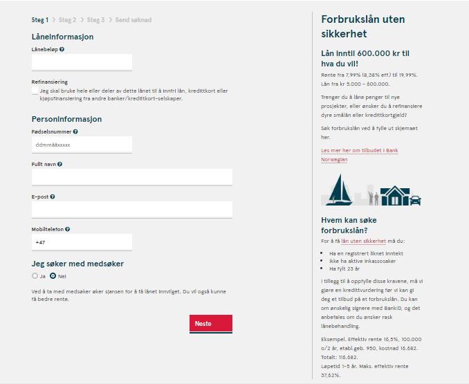 Anmeldelse av Bank Norwegian | Lånebeløp og personinformasjon