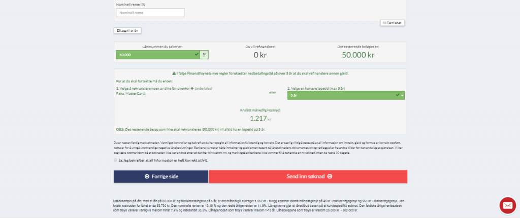 Anmeldelse av DigiFinans | Her skal du fylle inn økonomiopplysninger før du trykker «Send inn søknad».