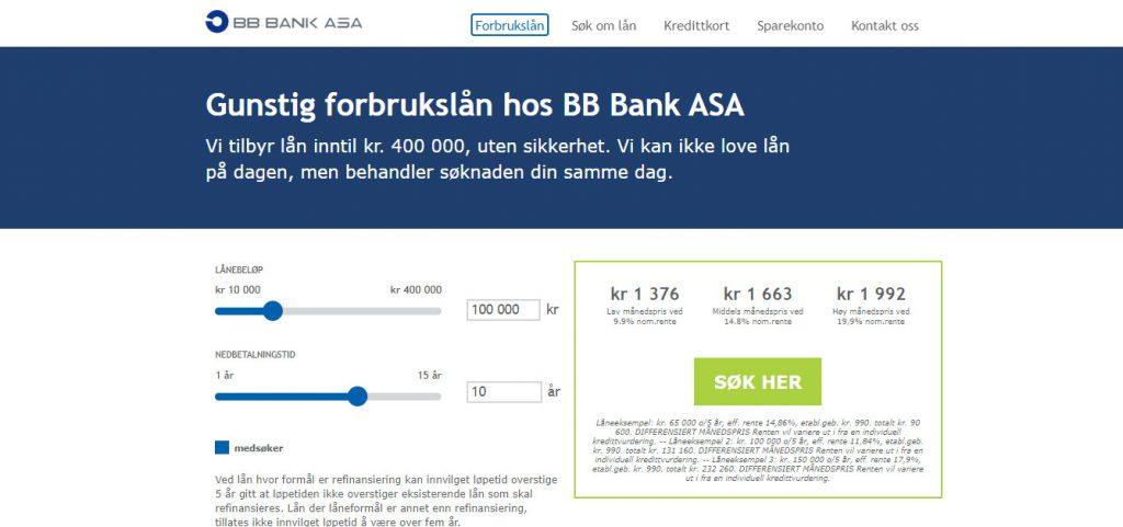 BB Bank hjemmesiden