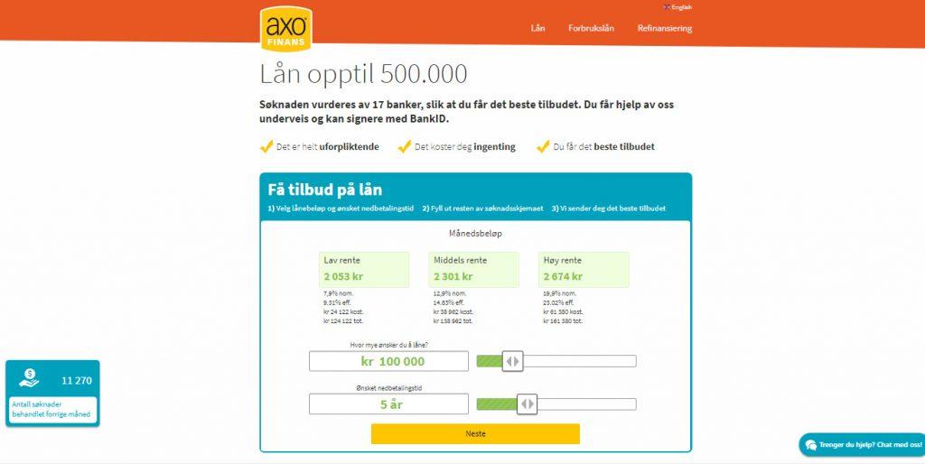 Axo Finans hjemmesiden