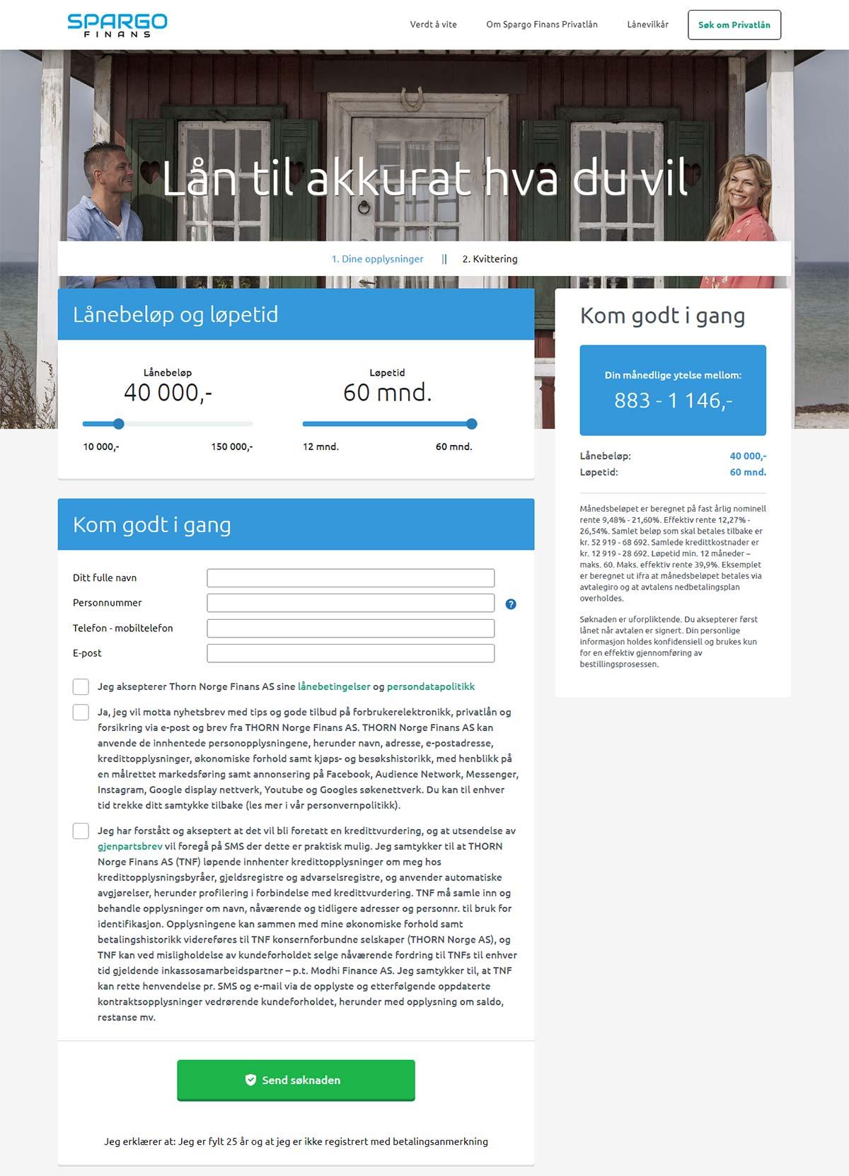 Spargo Finans Søk om Privatlån