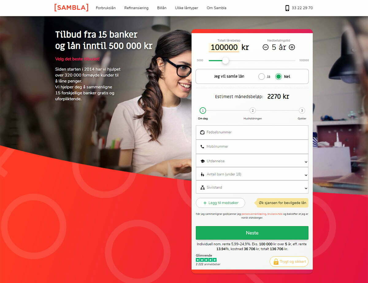 Anmeldelse av Sambla | neste trinn i lånesøknaden