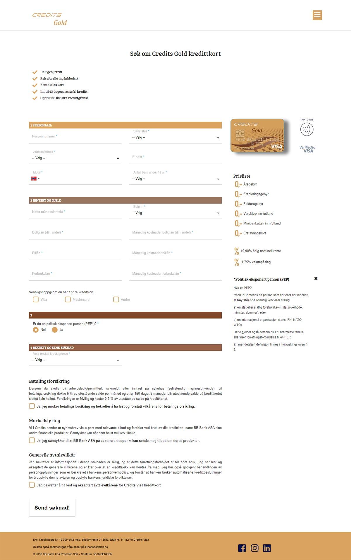 Søk om Credits Gold kredittkort