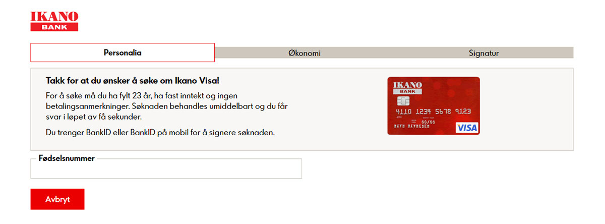 Ikano Visa Søknadskriteriene