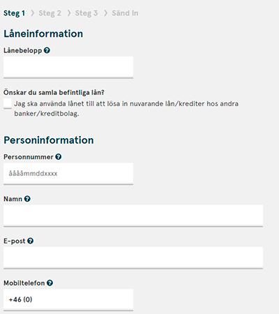 En skärmdump av Bank Norwegians låneansökan.