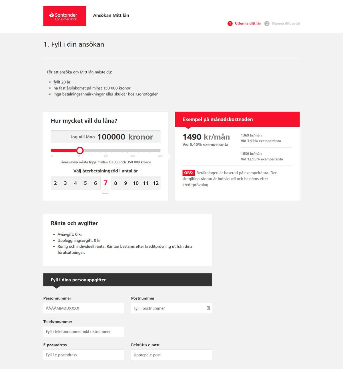 Santander ansökan