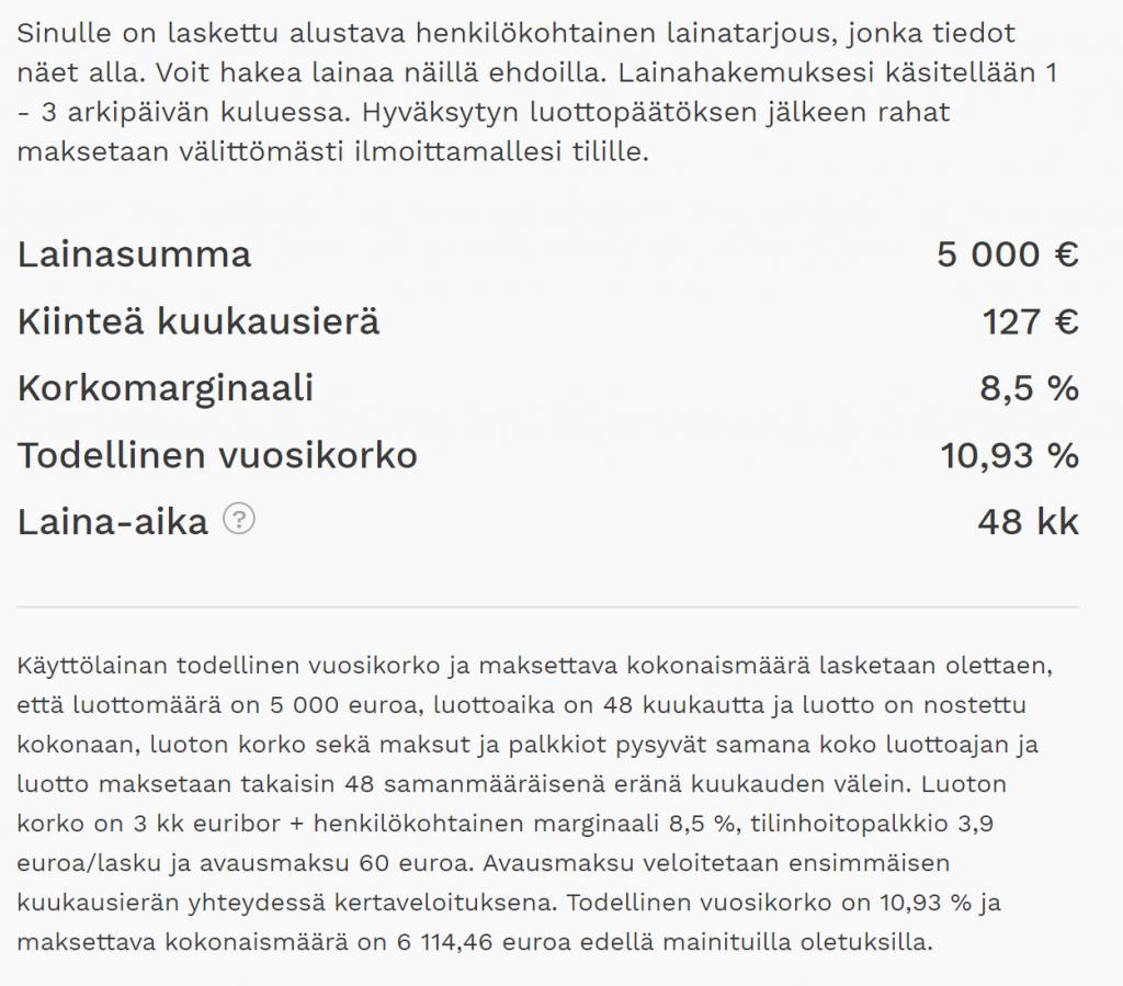 Aktian lainatarjouksen korko 5 000 euron lainalle on kilpailukykyinen.