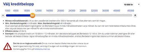 En skärmdump av Ferratums låneansökan