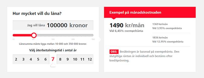 En skärmdump av Santanders låneansökan.