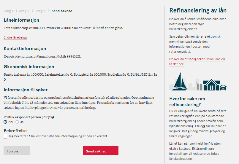 Anmeldelse av Bank Norwegian | Oppsummering av lånesøknaden