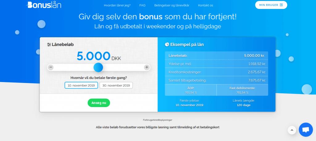 Anmeldelse af Bonuslån | Man skal vælge kredittens beløb.