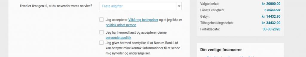 Anmeldelse af Cashper   Man skal her blandt andet give samtykke til Novum Bank Ltd.