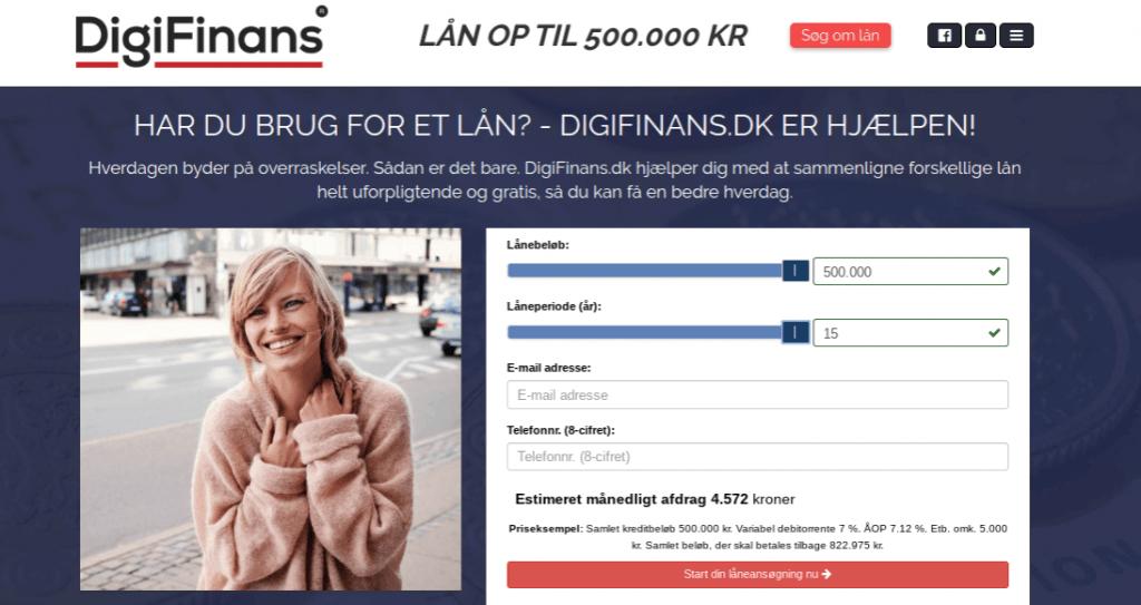 Anmeldelse af DigiFinans | Man skal vælge lånebeløb og låneperiode.
