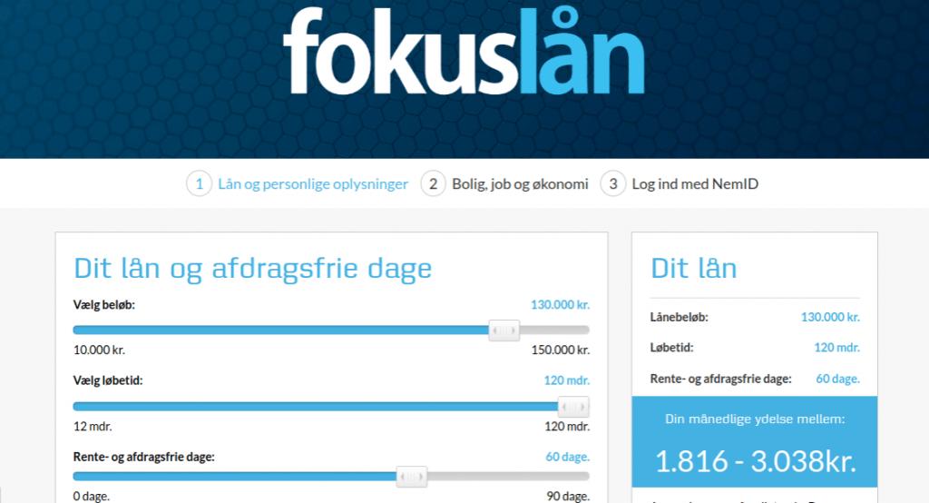 Anmeldelse af Fokuslån | Man skal vælge antallet af rente- og afdragsfrie dage.