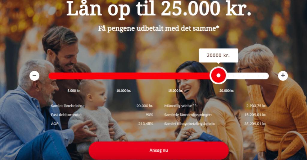 Anmeldelse af Folkelånet | Man skal her vælge lånebeløb og klikke på Ansøg nu.