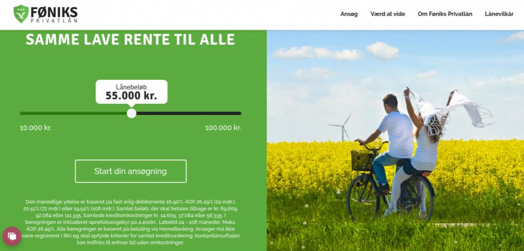 Anmeldelse af Føniks Privatlån | Man skal vælge lånebeløbet.