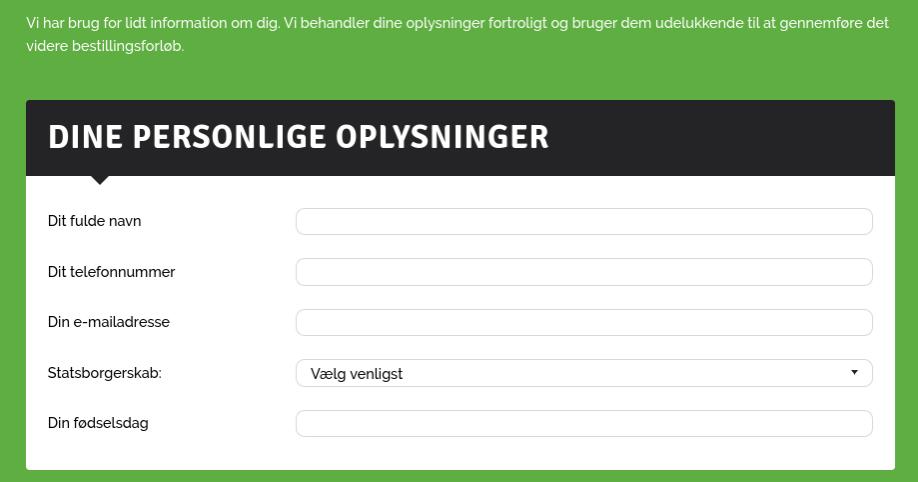 Anmeldelse af Føniks Privatlån   Her skal indtastes personlige oplysninger.