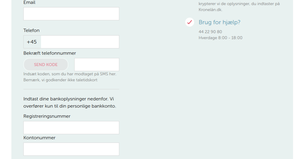 Anmeldelse af Kronelån | Man skal indtaste registrerings- og kontonummer.