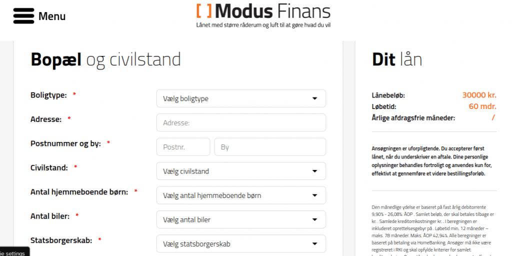Anmeldelse af Modus Finans | Man skal her angive oplysninger om bopæl og civilstand.