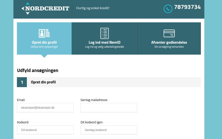 Anmeldelse af NordCredit | Man skal oprette en profil.