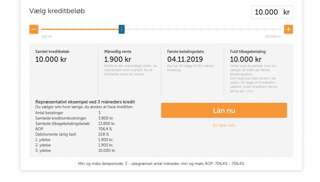 Anmeldelse af Simbo | Man skal vælge det ønskede kreditbeløb.