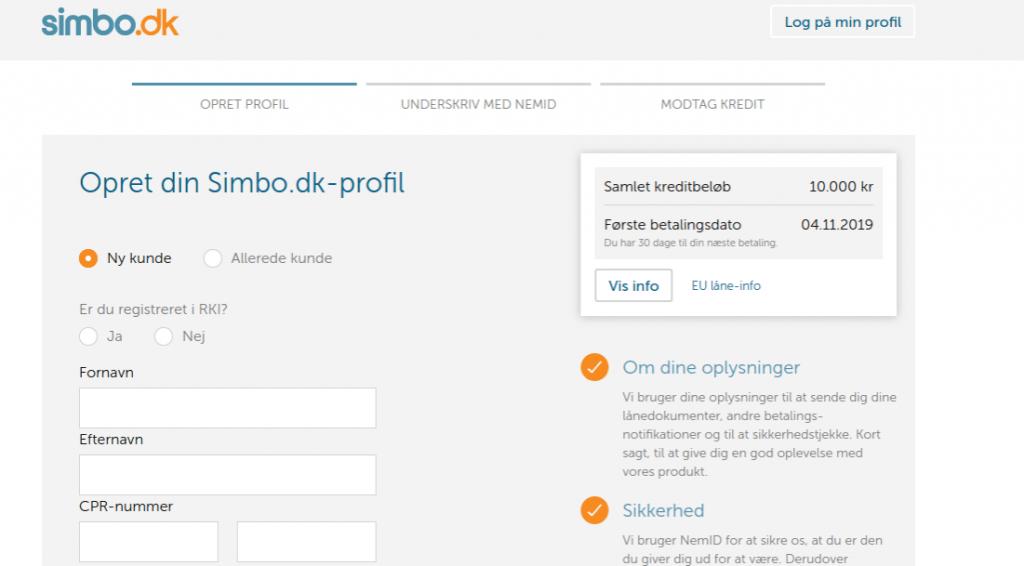 Anmeldelse af Simbo | Man skal her oprette sin Simbo-profil.