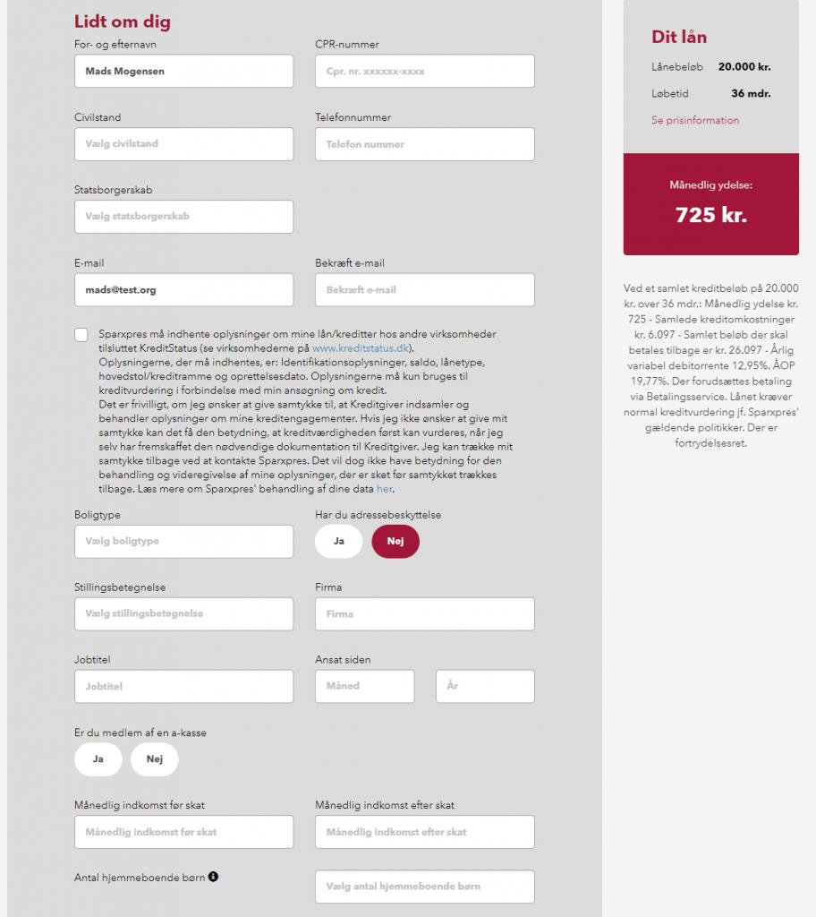 Anmeldelse af Sparxpres | Her skal man i gang med at udfylde personlige oplysninger.