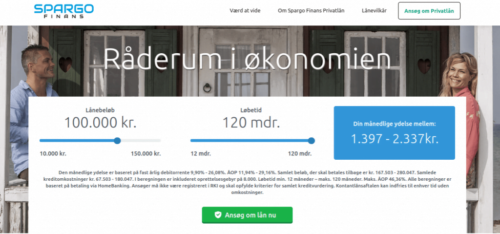 Anmeldelse af Spargo Finans | Man skal vælge lånebeløb og løbetid og derefter trykke på Ansøg om lån nu.